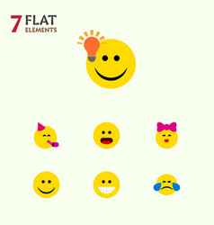 Flat icon expression set of grin joy cold sweat vector