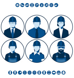 flat silhouettes of construction workers vector image vector image