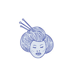 geisha girl head drawing vector image vector image