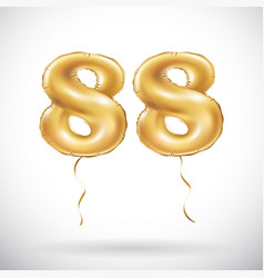 Golden number 88 eighty eight metallic balloon vector