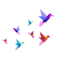 Group of various Origami hummingbirds vector image vector image