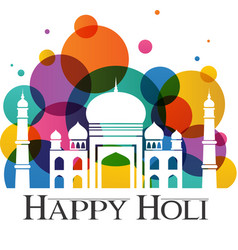 Happy holi taj mahal with abstract traditional vector