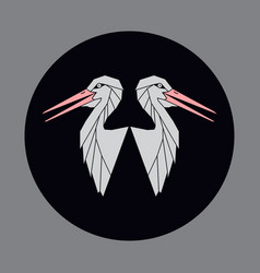 Icon of a two bird a stork or crane vector