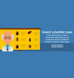 insect scientist man banner horizontal concept vector image