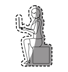 Isolated woman cartoon with laptop design vector