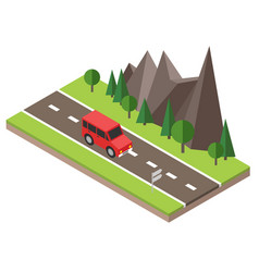 Isometric countryside summer road car goes vector