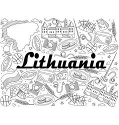 lithuania line art design vector image