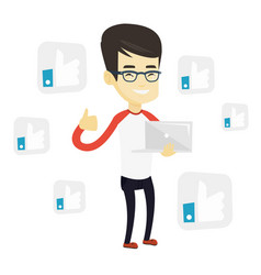 Man with like social network buttons vector