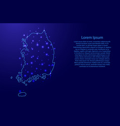 Map of the south korea from the contours blue vector