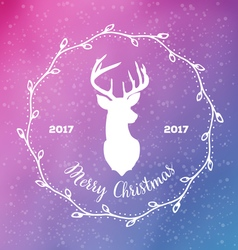Merry christmas with reindeer head in frame from vector