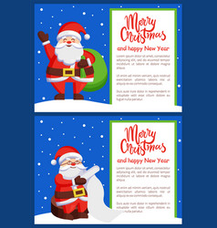 Merry xmas and happy new year postcard santa claus vector