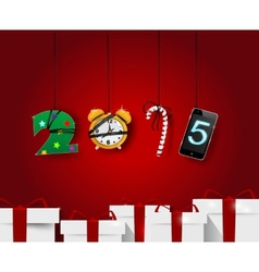 New year artistic numbers holiday card template vector