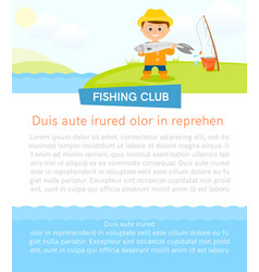Poster with fisherman and fish vector