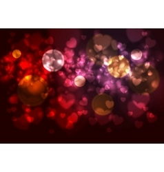 Purple and red background with blurred hearts and vector image