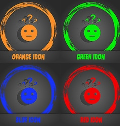 Question mark and man incomprehension icon vector