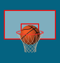 Realistic leather playing ball in basketball hoop vector