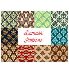 seamless pattern set of floral damask ornament vector image