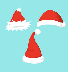set of santa hats in vector image