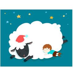 Sleeping boy with fluffy sheep vector