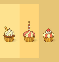 three delicious yummy cupcakes with sprinkles vector image