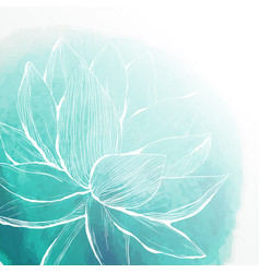 Watercolor background with lotus flower vector