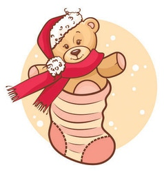 Christmas teddy baby in sock vector