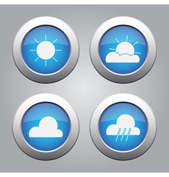 Blue metallic buttons set weather forecast icons vector
