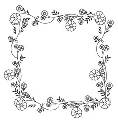 Monochrome contour with floral square wreath vector