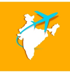 Airplane around indian map vector