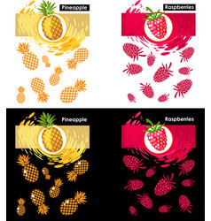 Set template raspberry and pineapple fruits vector
