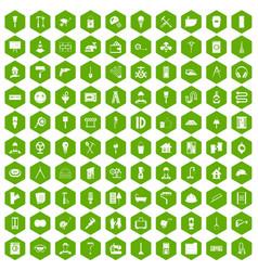 100 renovation icons hexagon green vector