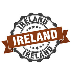 Ireland round ribbon seal vector