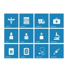 Hospital icons on blue background vector