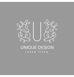 Monogram with floral border vector
