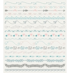 Colorful hand sketched seamless borders vector