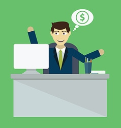 Businessman win online business deal flat vector