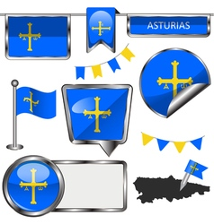 Glossy icons with asturian flag vector