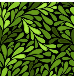 dark seamless pattern with green leaves vector image