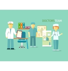 Doctors team people group flat style vector