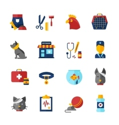 Pet vet icons set vector