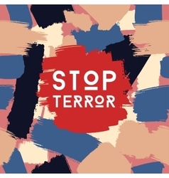 Stop terror grunge postcard template vector