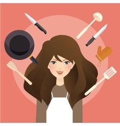 Beautiful woman smile around cooking tools kitchen vector
