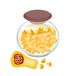 A jar of delicious pikled butternut squash vector