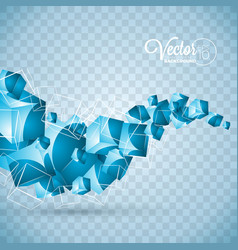 abstract blue waves cubes design on transparent vector image vector image