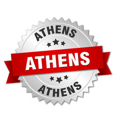 Athens round silver badge with red ribbon vector