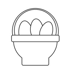 Basket with easter egg thin line vector