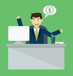 Businessman win online business deal flat vector
