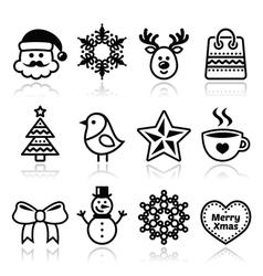 Christmas winter icons set - santa claus snowman vector