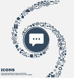 Cloud of thoughts icon sign in the center around vector