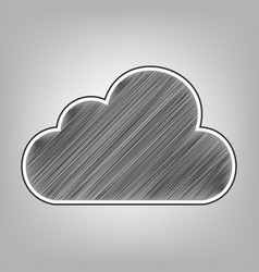 Cloud sign pencil sketch vector